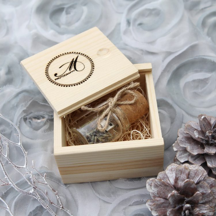 5 PACK Lavender Glass USB Flash Drive with Pine Box Set