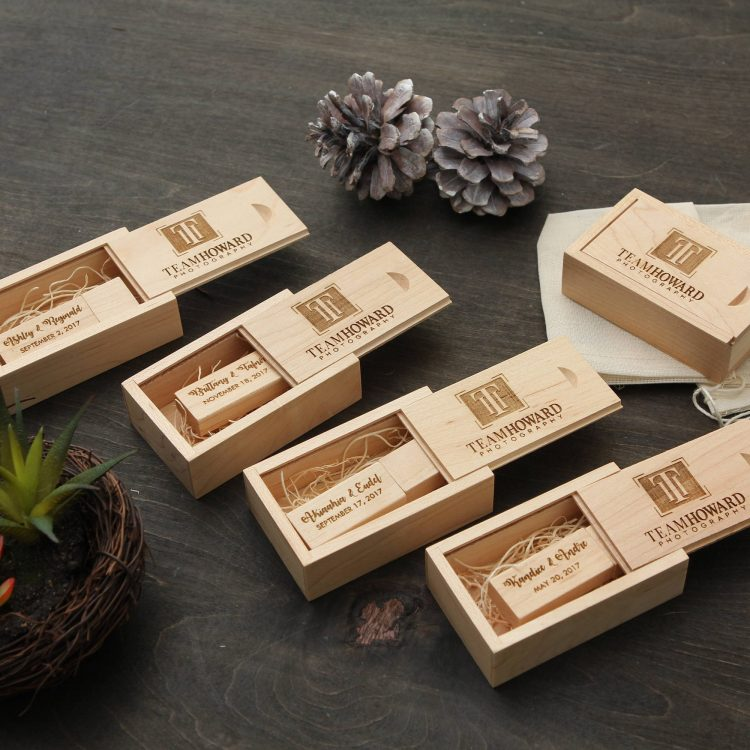 5 PACK- Thin Maple USB Flash Drive & Wood USB Box Set