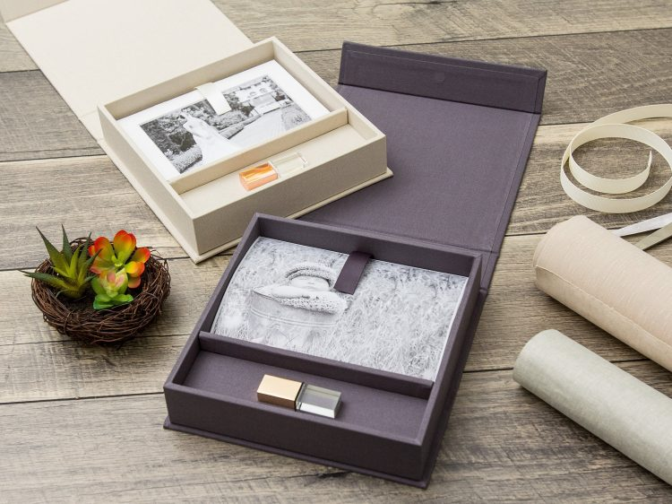 "5×7"" Linen USB & Photo Box"
