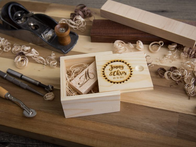 Pine Box with Wood USB Flash Drive Of Your Choice